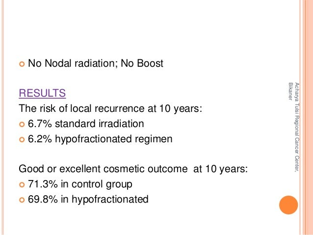  No Nodal radiation; No Boost  RESULTS  The risk of local recurrence at 10 years:   6.7% standard irradiation   6.2% hy...