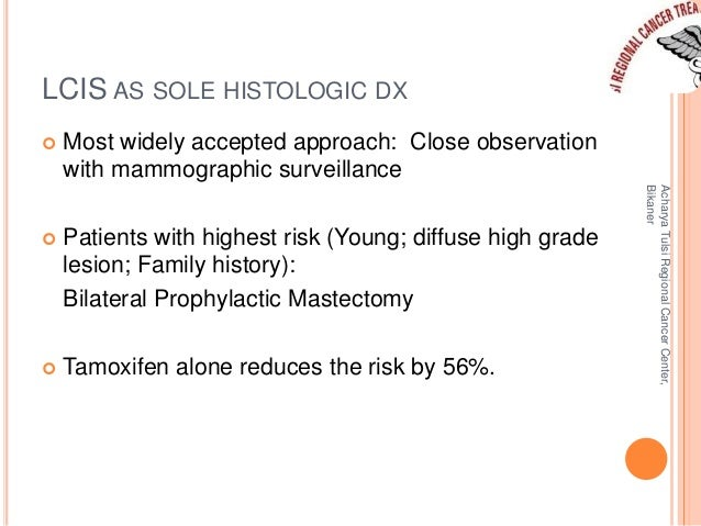 LCIS AS SOLE HISTOLOGIC DX   Most widely accepted approach: Close observation  with mammographic surveillance   Patients...