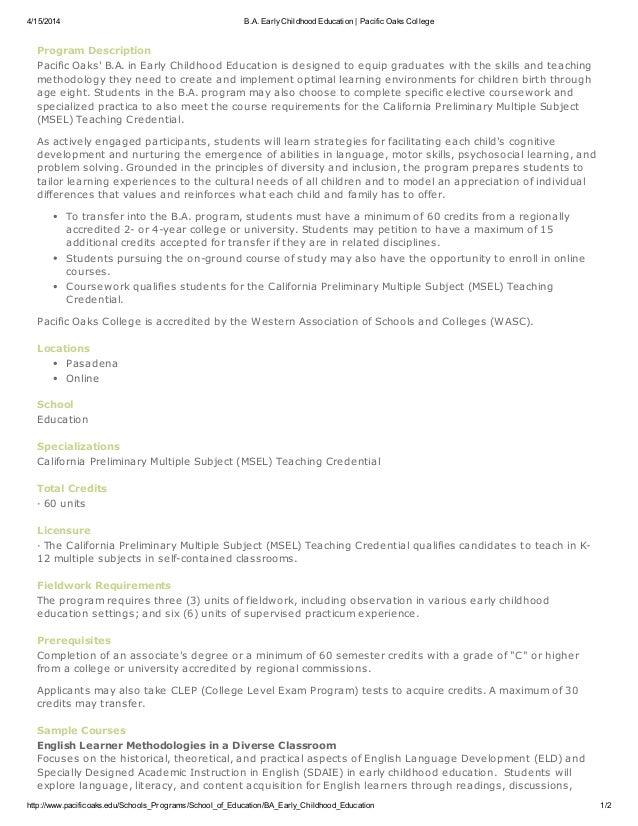 4/15/2014 B.A. EarlyChildhood Education | Pacific Oaks College http://www.pacificoaks.edu/Schools_Programs/School_of_Educa...