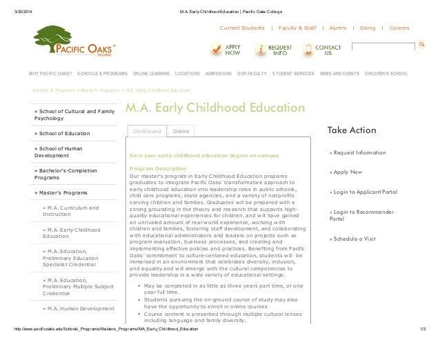 3/20/2014 M.A. EarlyChildhood Education   Pacific Oaks College http://www.pacificoaks.edu/Schools_Programs/Masters_Program...