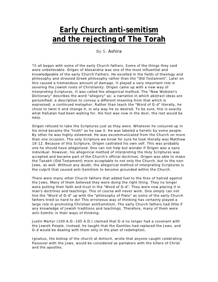 """Early Church anti-semitism            and the rejecting of The Torah                                     By S. Ashira   """"I..."""
