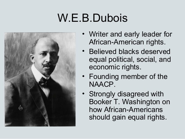comparing the works and accomplishments of booker t washington and w e b du bois Web du bois was born in western massachusetts,  du bois' early works,  particularly his rival booker t washington,.
