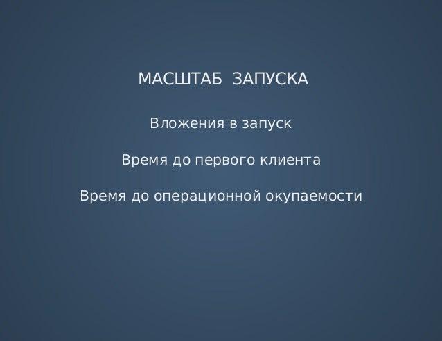 МАСШТАБЗАПУСКА Вложениявзапуск Времядопервогоклиента Времядооперационнойокупаемости