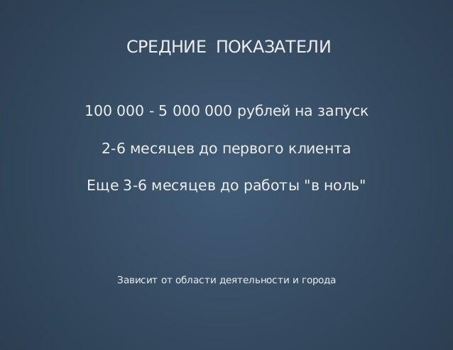 """СРЕДНИЕПОКАЗАТЕЛИ 100000-5000000рублейназапуск 2-6месяцевдопервогоклиента Еще3-6месяцевдоработы""""вноль"""" ..."""