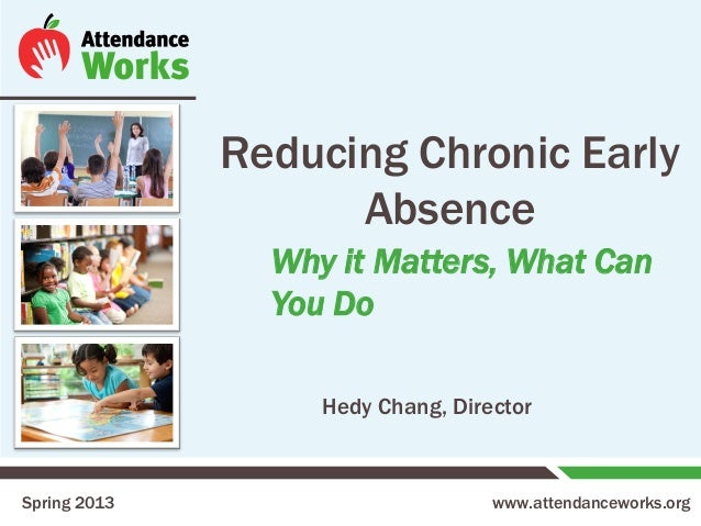 www.attendanceworks.org Reducing Chronic Early Absence Spring 2013 Hedy Chang, Director Why it Matters, What Can You Do