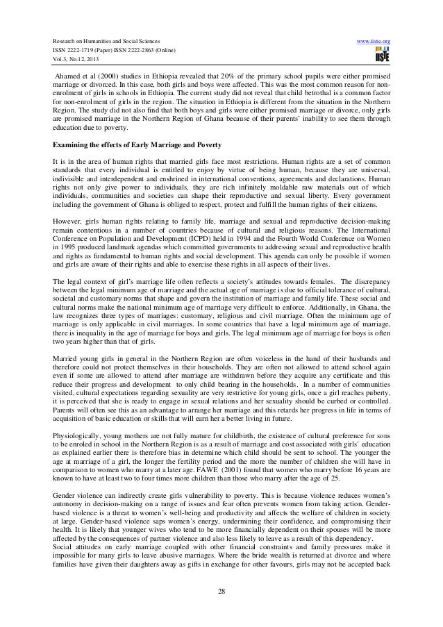 Research paper summary and conclusion of early marriage