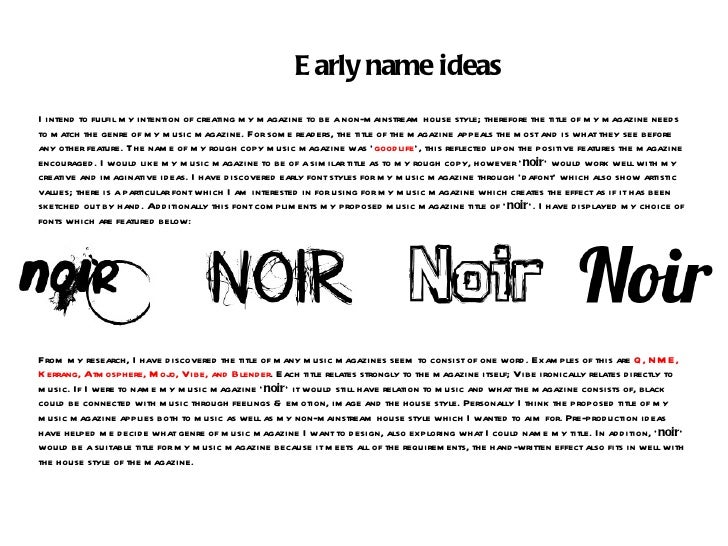 Early name ideas