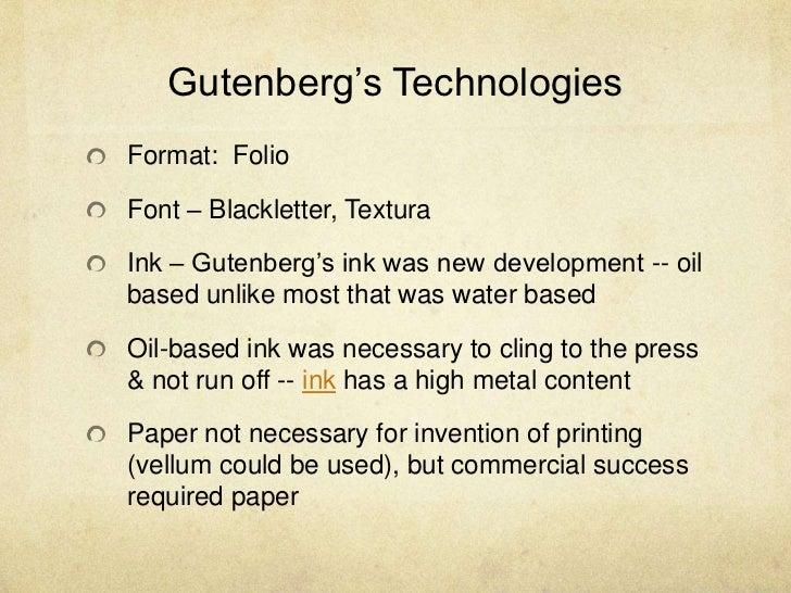 Gutenbergs TechnologiesFormat FolioFont Blackletter