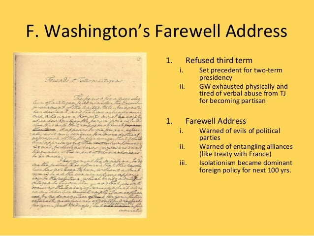 washingtons farewell address (there is an outline and a select dictionary at the end of this address) friends and fellow-citizens: the period for a new election of a citizen, to administer the executive government of the united states being not far distant, and the time actually arrived, when your thoughts must be employed in designating the person, who [.