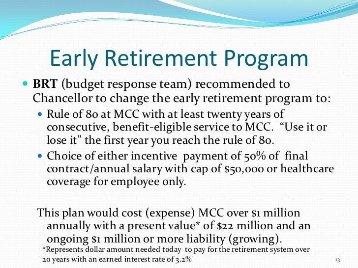 Early Retirement And Budget Overview Board