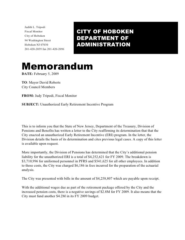 Early Retirement Program Memo 2/5/2009