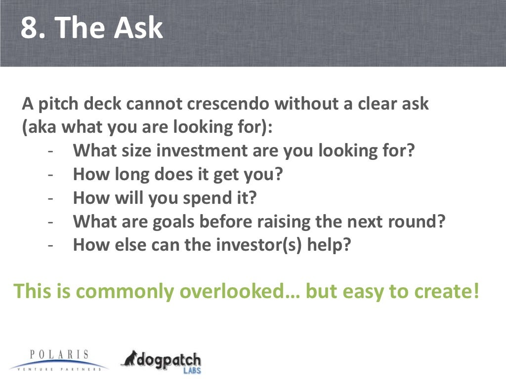 how to write 1 slide pitch deck