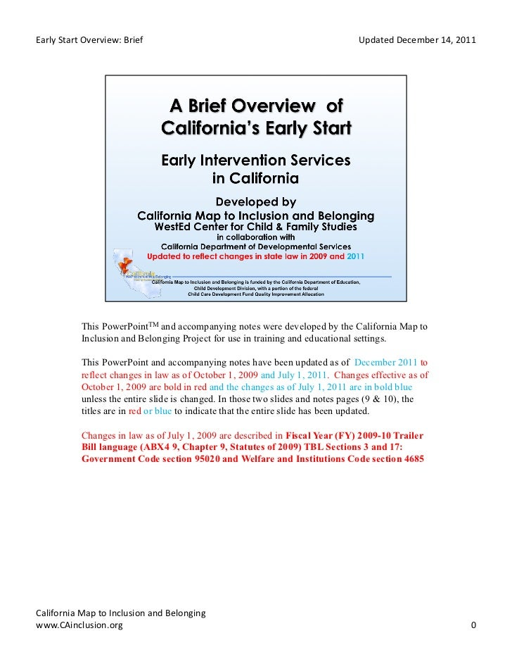 Early	  Start	  Overview:	  Brief	                                              Updated	  December	  14,	  2011	          ...