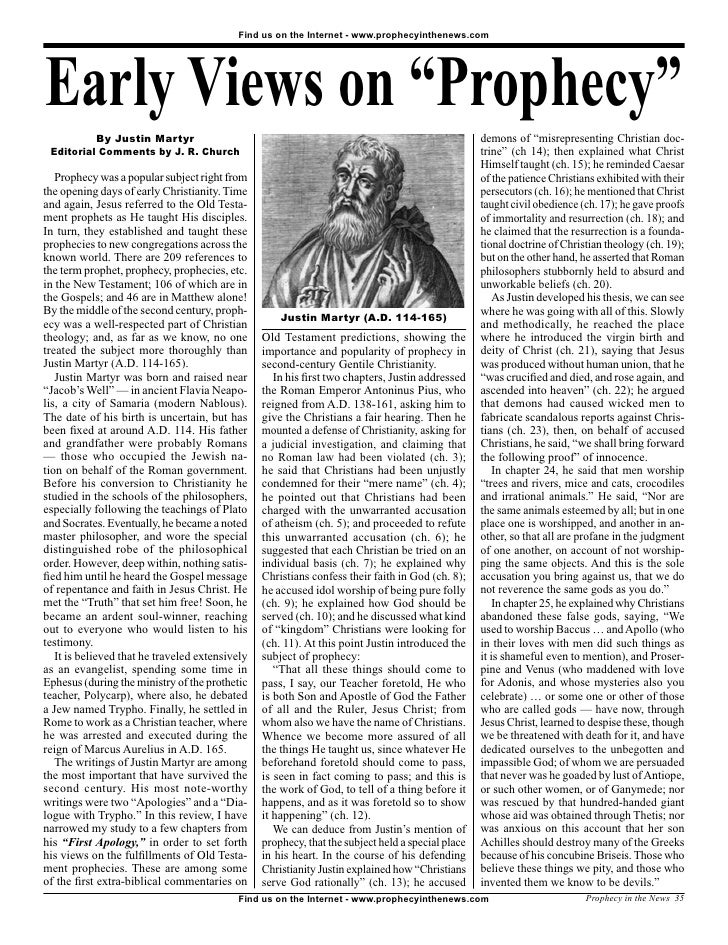 Early Views On Prophecy -  Prophecy In The News Magazine  -  August 2007