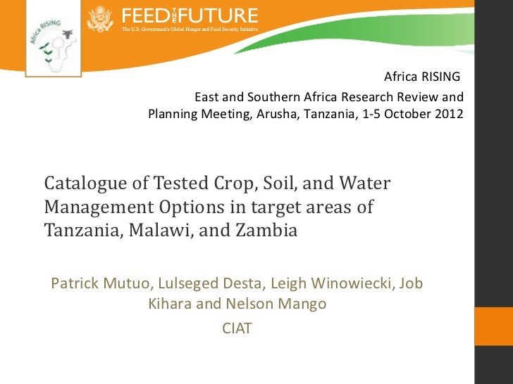 Africa RISING                     East and Southern Africa Research Review and             Planning Meeting, Arusha, Tanza...