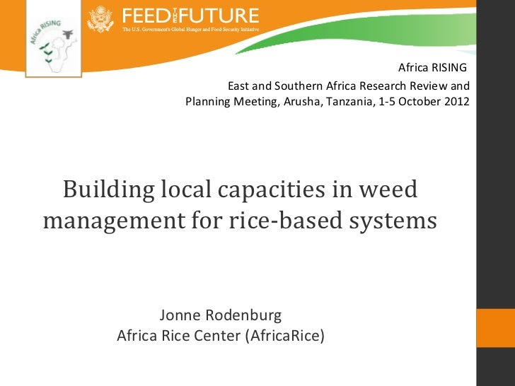 Africa RISING                        East and Southern Africa Research Review and                Planning Meeting, Arusha,...
