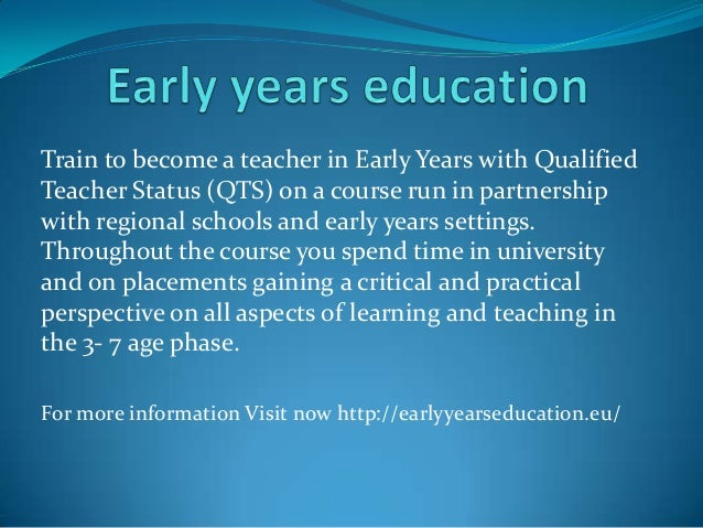 Train to become a teacher in Early Years with Qualified Teacher Status (QTS) on a course run in partnership with regional ...