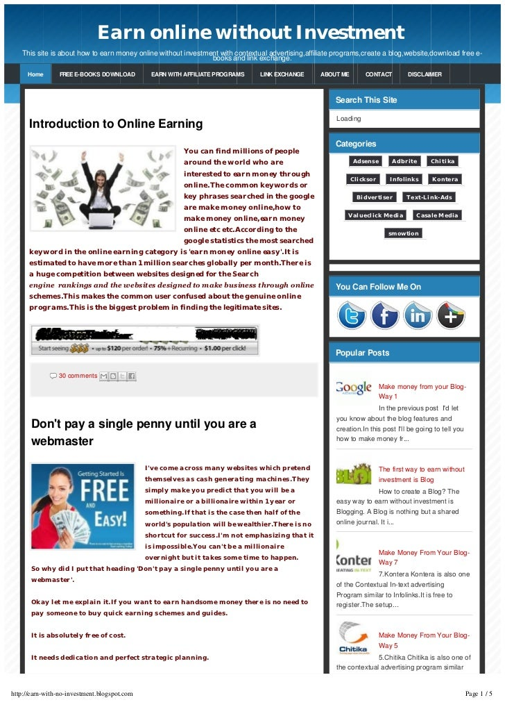 Earn online without Investment   This site is about how to earn money online without investment with contextual advertisin...