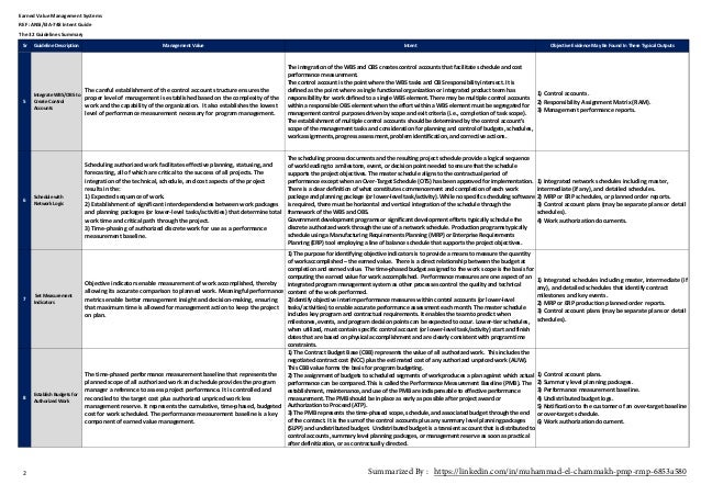 Sr GuidelineDescription ManagementValue Intent ObjectiveEvidenceMayBeFoundInTheseTypicalOutputs EarnedValueMan...