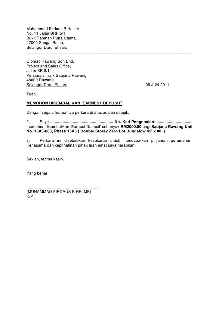 Surat Meminta Earnest Deposit