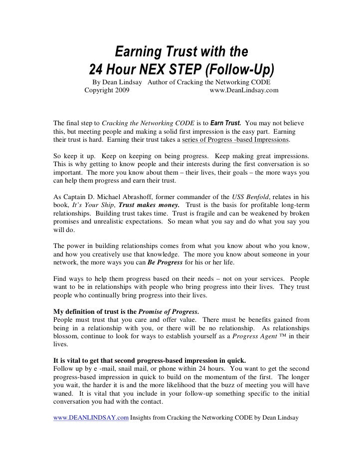 Earning Trust with the             24 Hour NEX STEP (Follow-Up)             By Dean Lindsay Author of Cracking the Network...