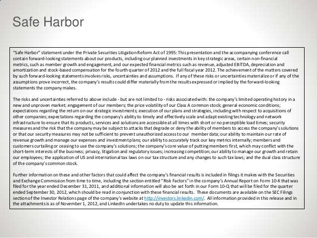 """Safe Harbor""""Safe Harbor"""" statement under the Private Securities Litigation Reform Act of 1995: This presentation and the a..."""