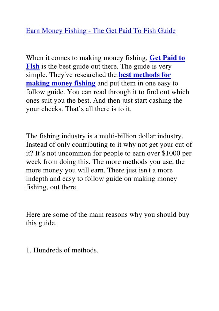 """HYPERLINK """"http://www.articlesbase.com/crafts-articles/earn-money-fishing-the-get-paid-to-fish-guide-2382218.html""""Earn Mon..."""