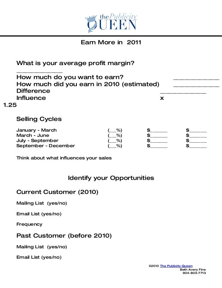 Earn More in 2011       What is your average profit margin?     ________________     How much do you want to earn?        ...