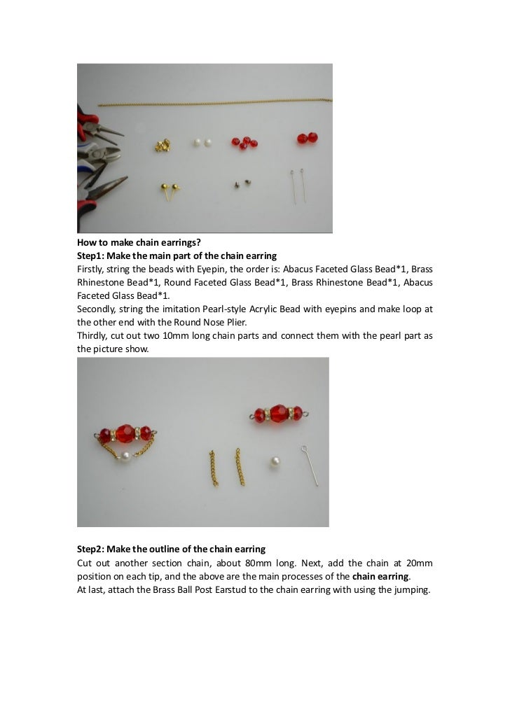 Earring making instructions how to make chain earrings for Net making instructions