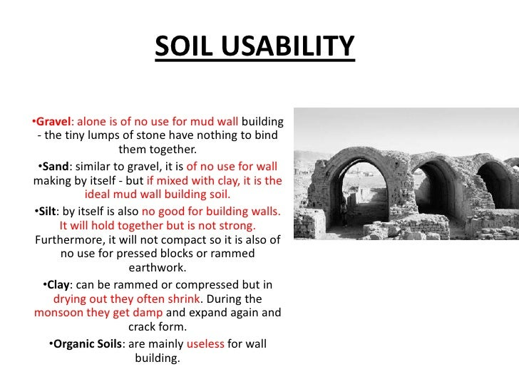 Eart soil as building material for Types of soil and its uses