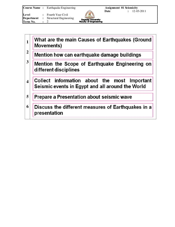 Course Name :    Earthquake Engineering   Assignment 01 Seismicity                                          Date          ...
