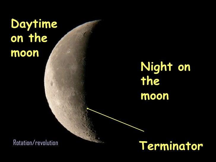 Daytime on the moon Night on the moon Terminator Rotation/revolution