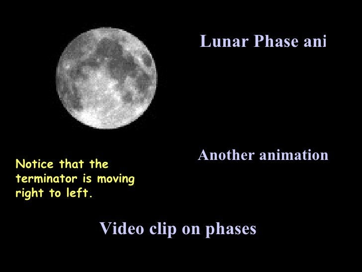Lunar Phase animation Another animation Video clip on phases Notice that the terminator is moving right to left.