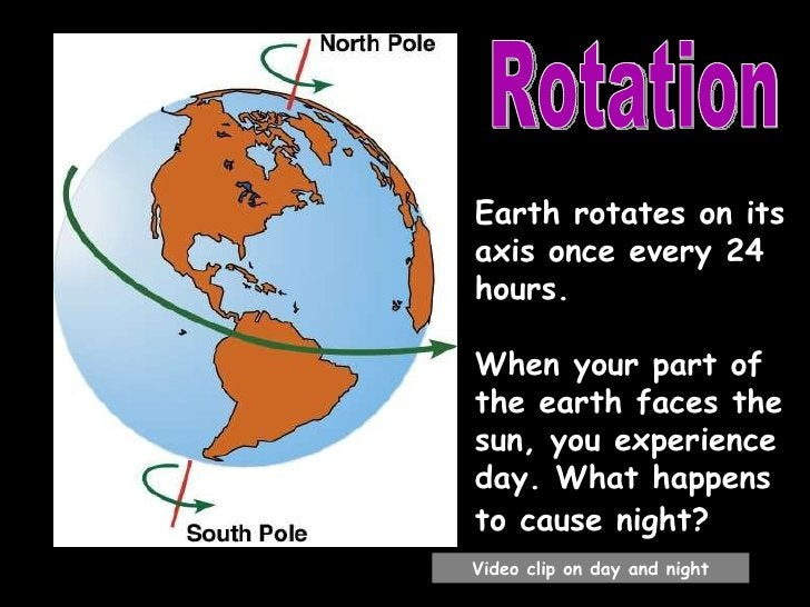 Earth rotates on its axis once every 24 hours.  When your part of the earth faces the sun, you experience day. What happen...