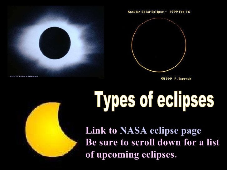 Types of eclipses Link to  NASA eclipse page Be sure to scroll down for a list of upcoming eclipses.  ...