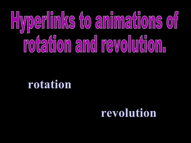 rotation revolution Hyperlinks to animations of rotation and revolution.