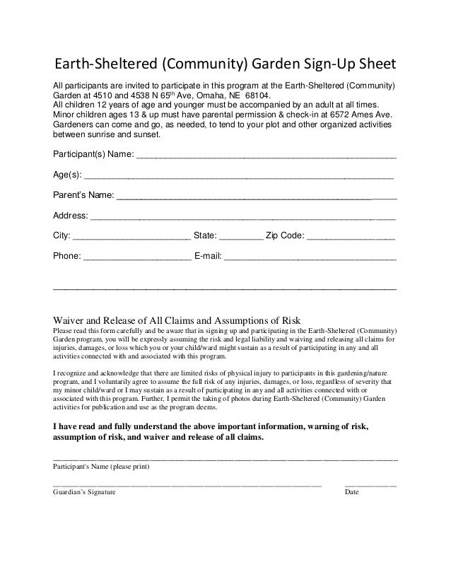 earth sheltered community garden sign up sheet and waiver