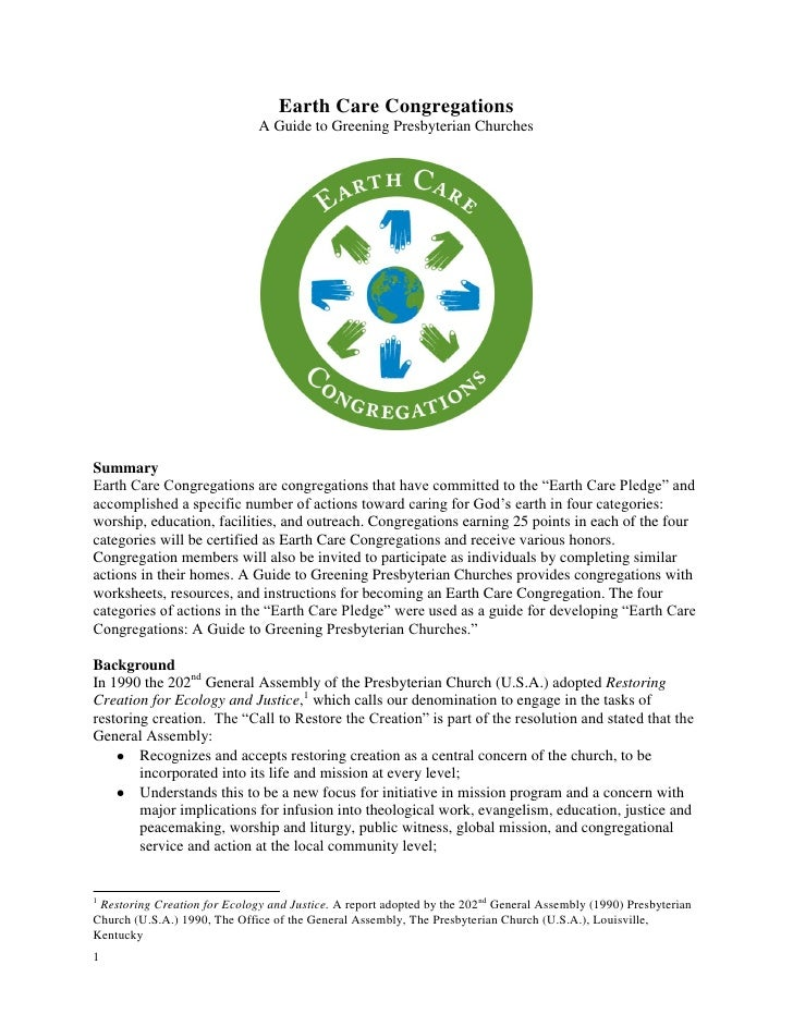 Earth Care Congregations                              A Guide to Greening Presbyterian ChurchesSummaryEarth Care Congregat...