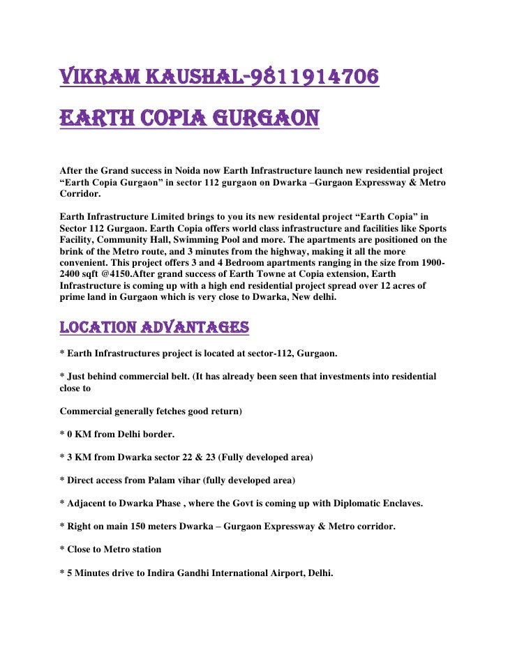 vikram kaushal-9811914706<br />EARTH COPIA GURGAON <br />After the Grand success in Noida now Earth Infrastructure launch ...