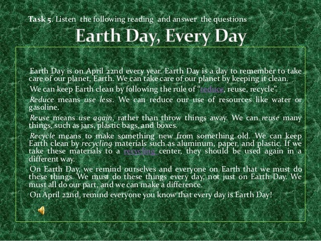 what is earth day essay Earth day essay | april 22 | class ,std 4,5,6,7,8,9,10 introduction: the name and concept of earth day was pioneered by john mcconnell in 1969 at a unesco conference in san francisco.