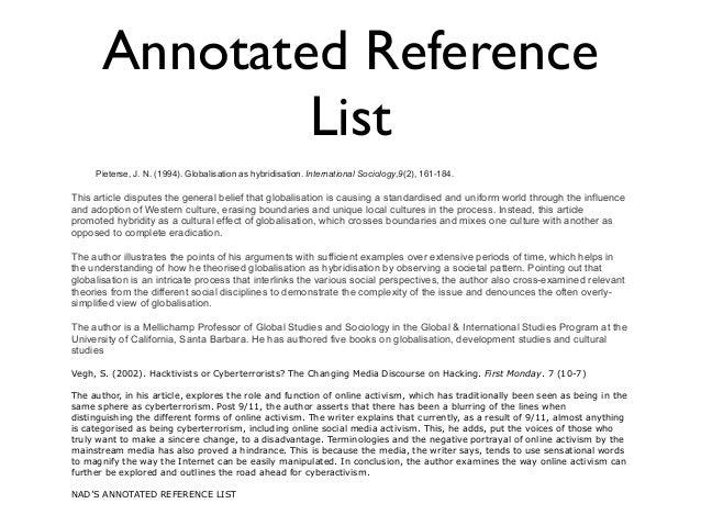 annotated reference list This week, you will create an annotated references page, including six sources for your report include a minimum of three traditional sources (books, newspapers.