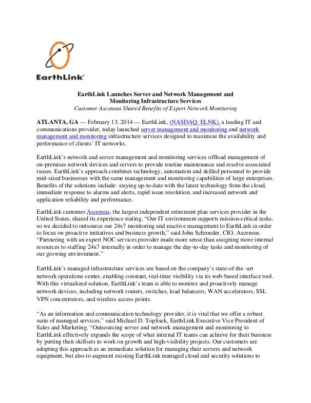 EarthLink Launches Server and Network Management and Monitoring Infrastructure Services Customer Ascensus Shared Benefits ...