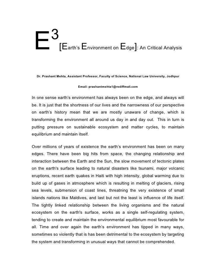 3  E              [Earth's Environment on Edge]: An Critical Analysis     Dr. Prashant Mehta, Assistant Professor, Faculty...