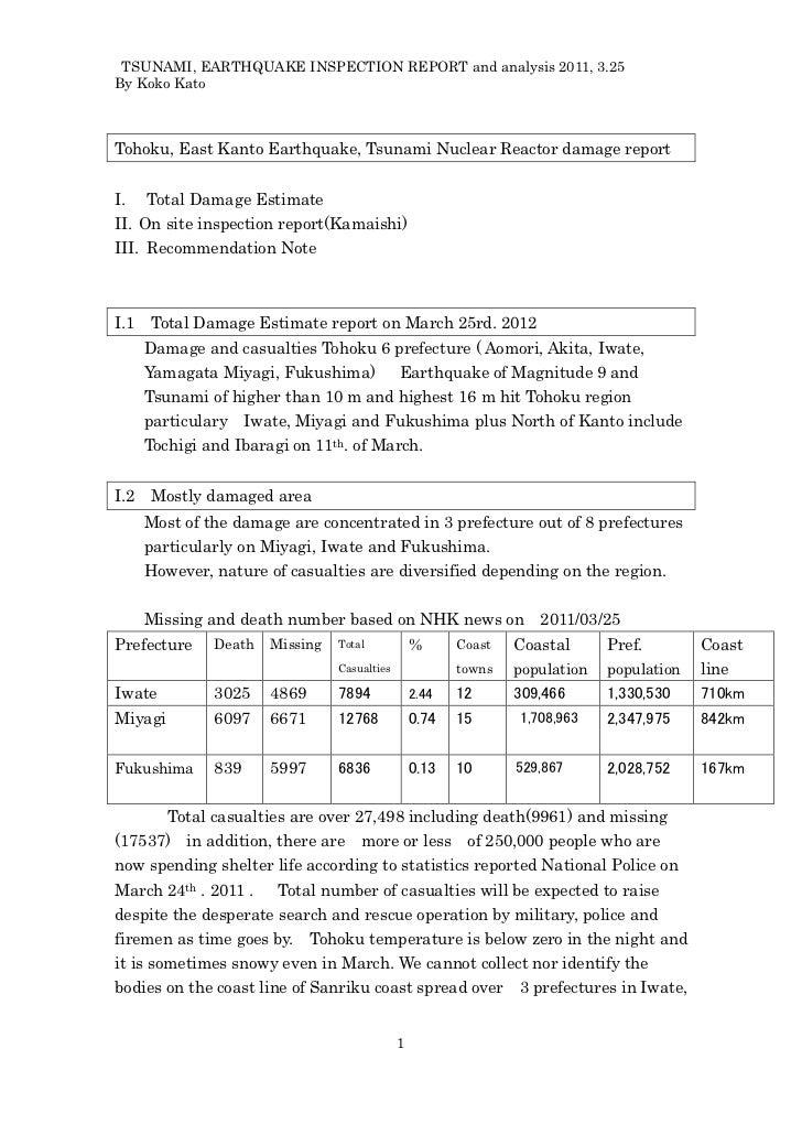 TSUNAMI, EARTHQUAKE INSPECTION REPORT and analysis 2011, 3.25By Koko KatoTohoku, East Kanto Earthquake, Tsunami Nuclear Re...