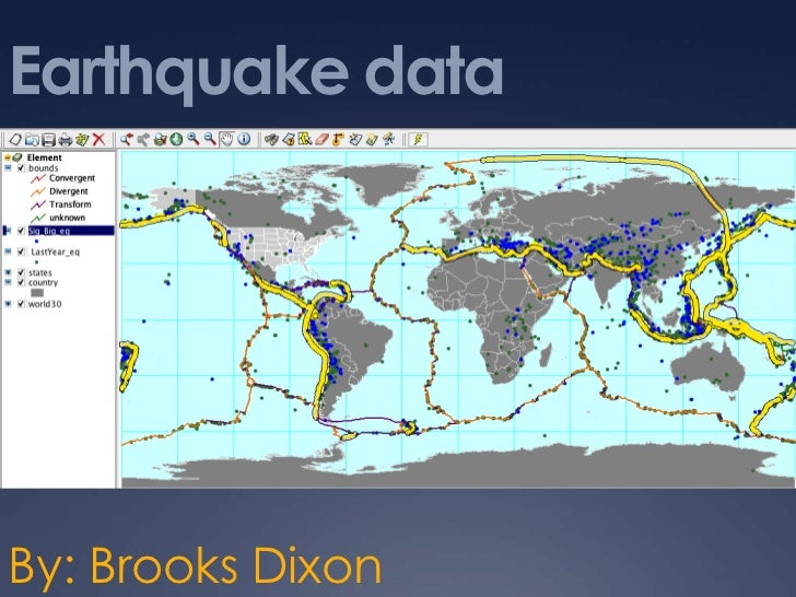Earthquake data<br />By: Brooks Dixon<br />