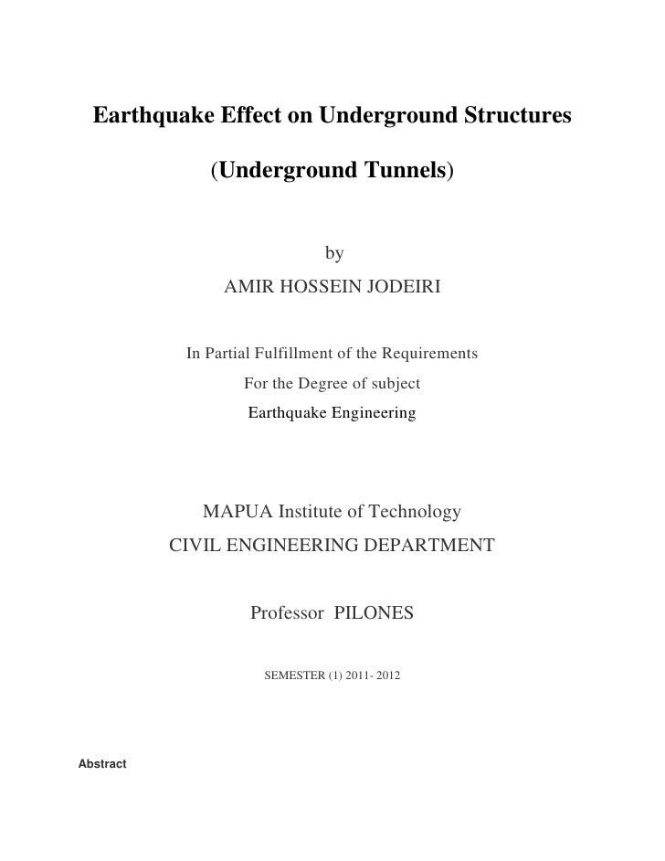 Earthquake Effect on Underground Structures<br />(Underground Tunnels)<br /> by<br />AMIR HOSSEIN JODEIRI<br />In Partial ...