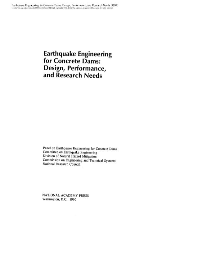 Earthquake engineering for concrete dams design, performance, and research needs