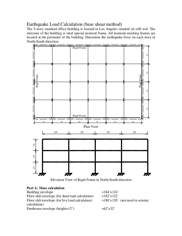 Earthquake Load Calculation Base Shear Method