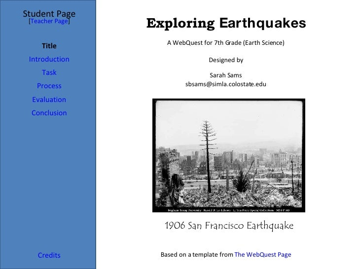 Exploring  Earthquakes Student Page Title Introduction Task Process Evaluation Conclusion Credits [ Teacher Page ] A WebQu...