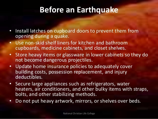 Earthquake Safety Precautions Docx